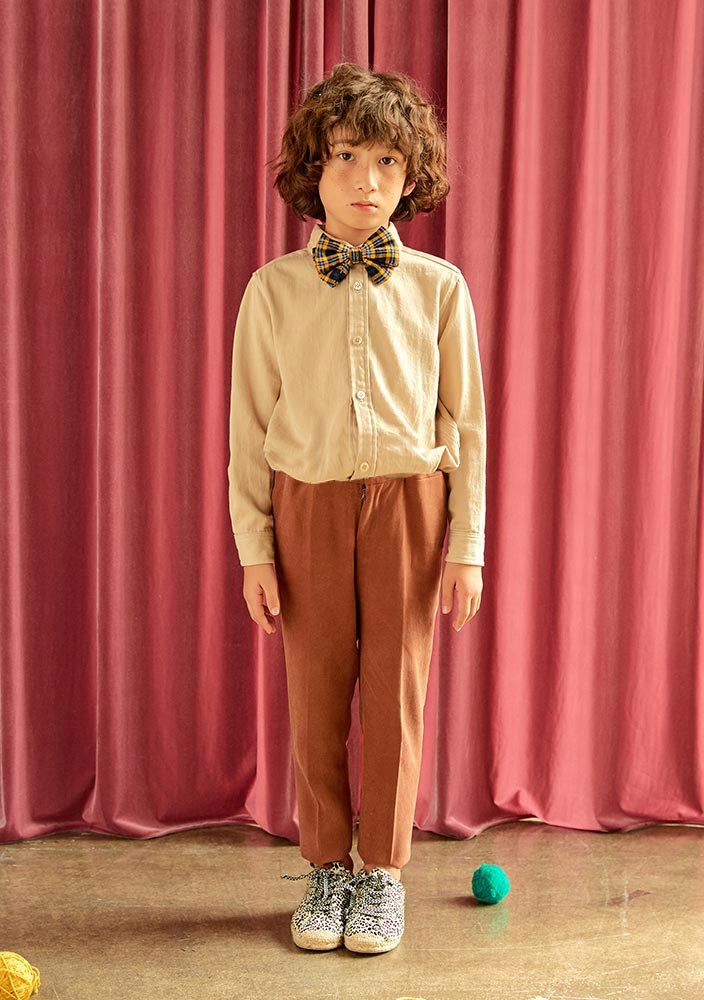 Button-down Cotton Shirt_Kids_Beige