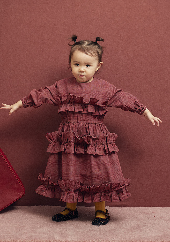 SHIRRING DRESS_Burgundy_Baby