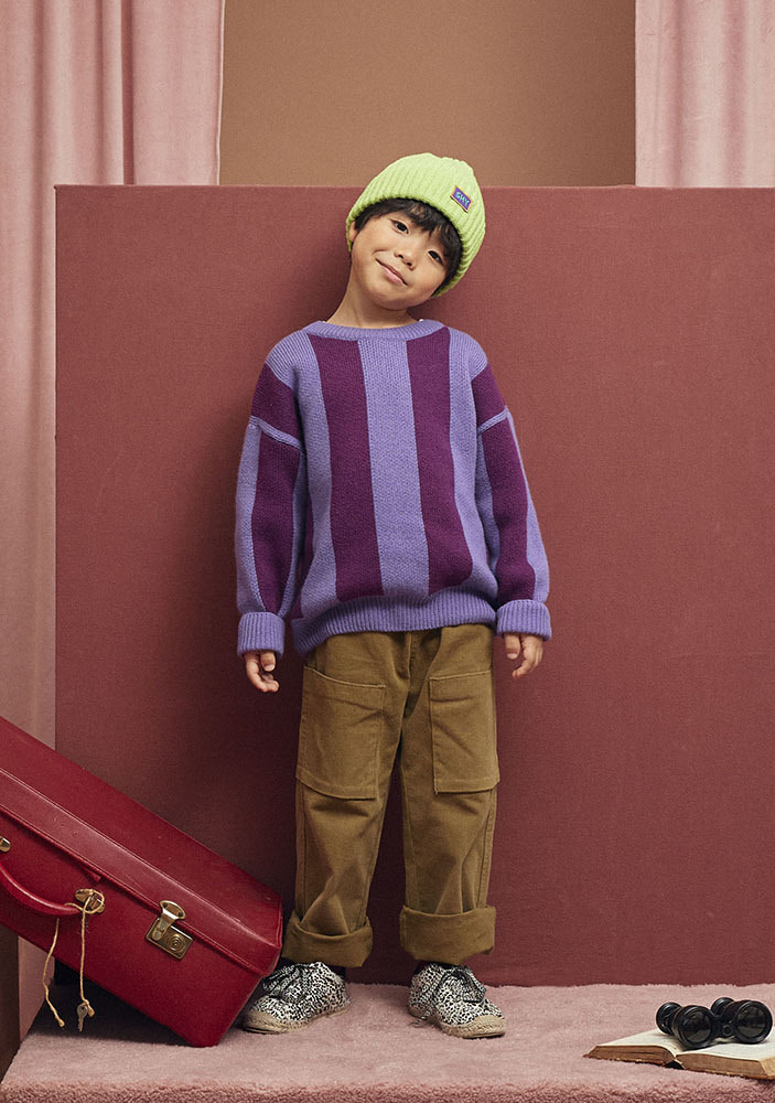STRIPED WOOL SWEATER_Purple