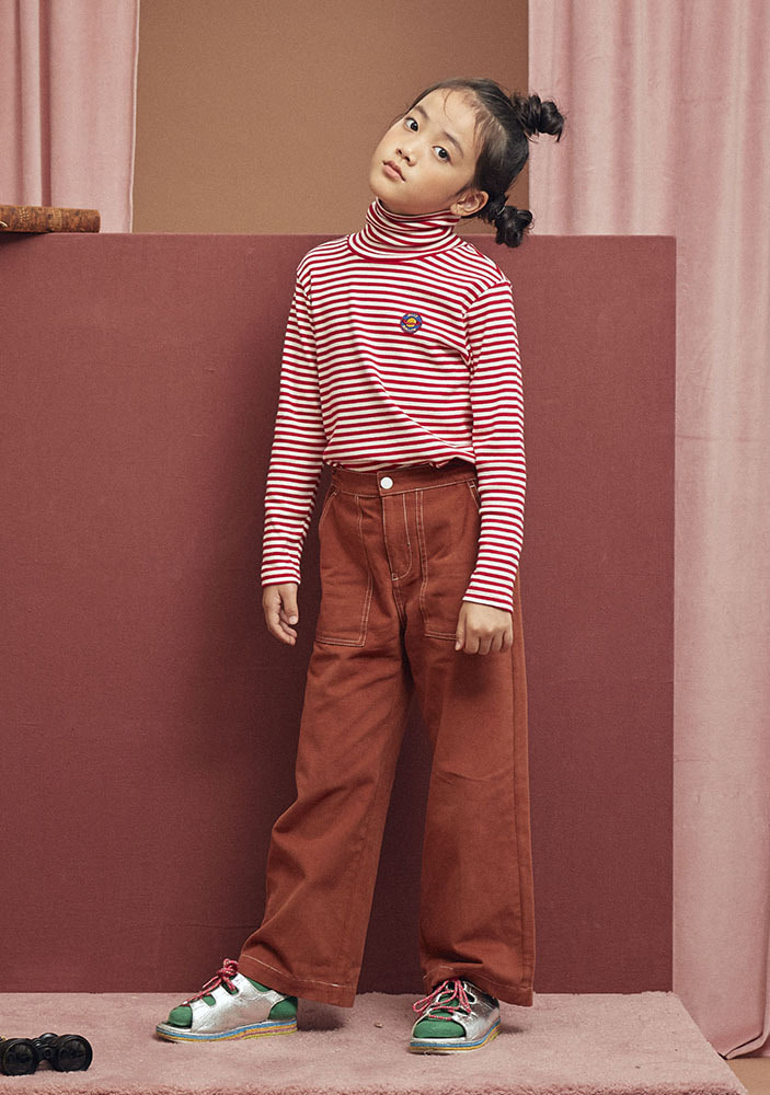 STRIPED PATCH TURTLENECK_Kids_Red #2