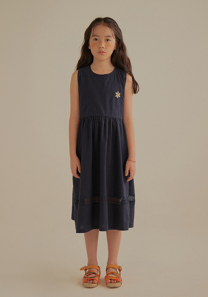 SMILE FLOWER DRESS_Kids_Navy