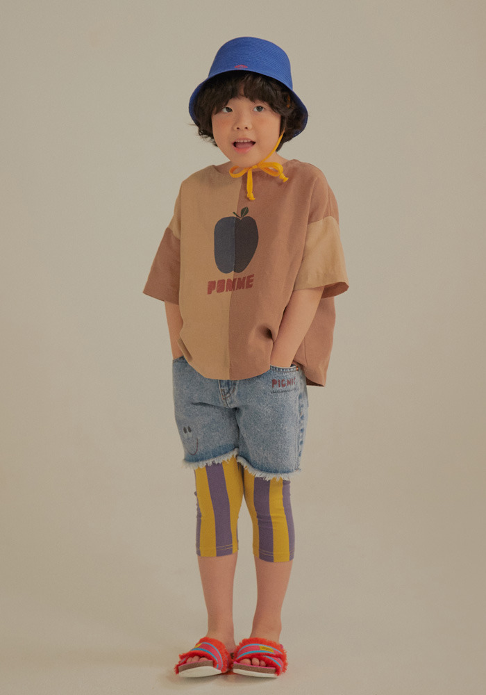 TWO TONE BLOUSE_Beige&Brown_Kids#2