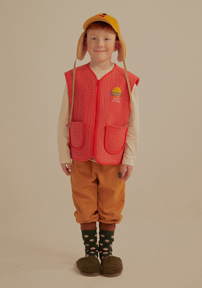 PETIT JELLY QUILT VEST_Red_Kids#2