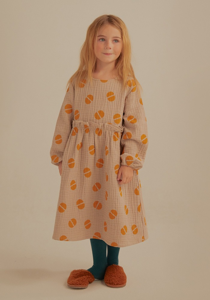 BEAN FRILL DRESS_Beige_Kids