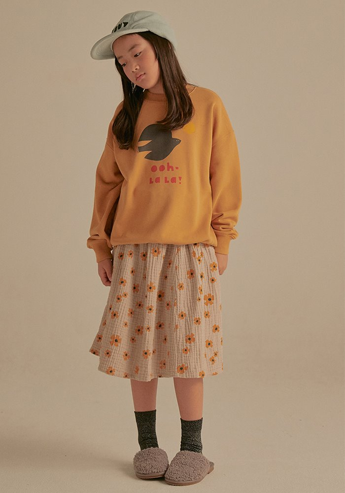 FLOWER  MAXI SKIRT_Beige_Kids