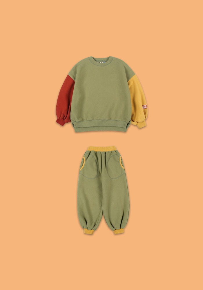 BALLOON SWEATSHIRT SET_GREEN