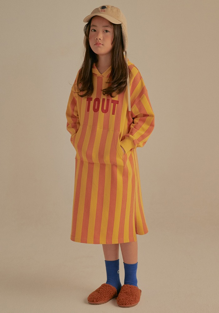 STRIPE HOODIE DRESS_Yellow&Pink_Kids