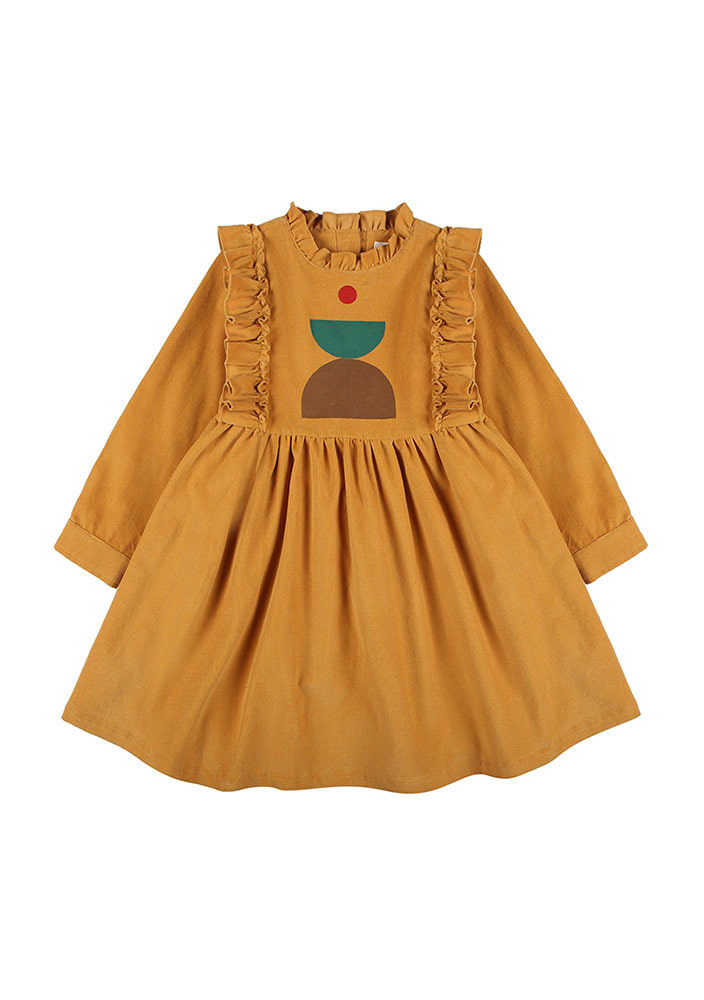 CORDUROY DRESS_Kids_Mustard