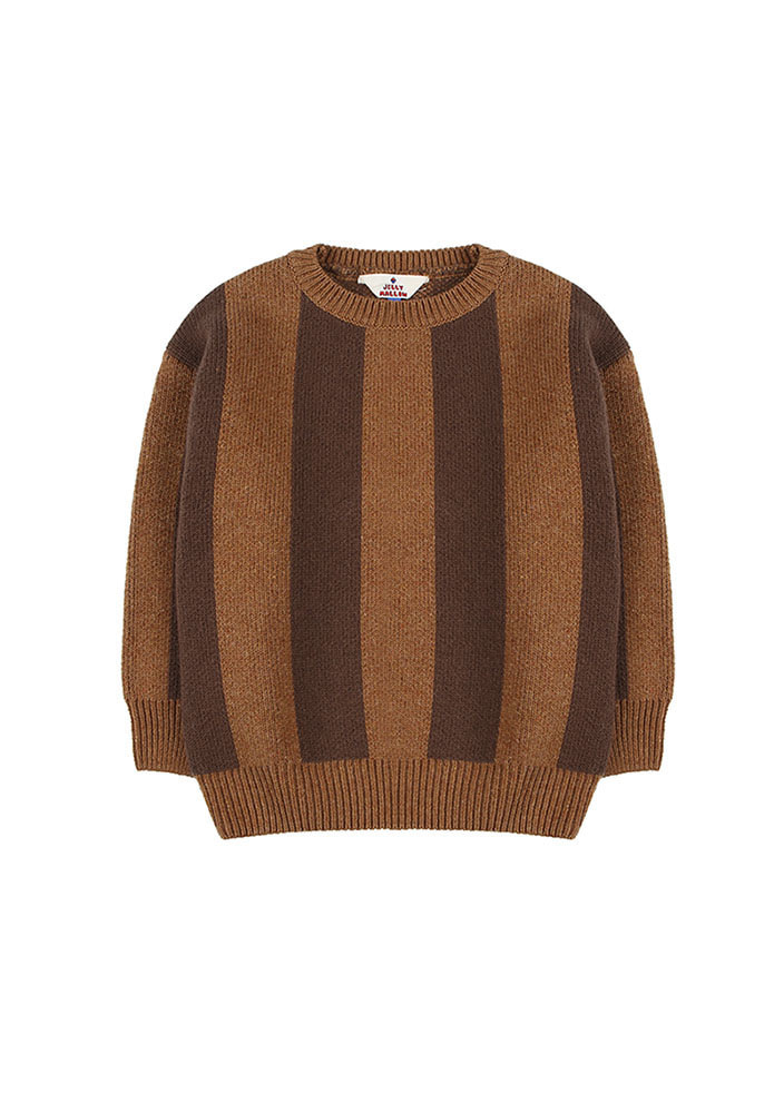 ★STRIPED WOOL SWEATER_Brown