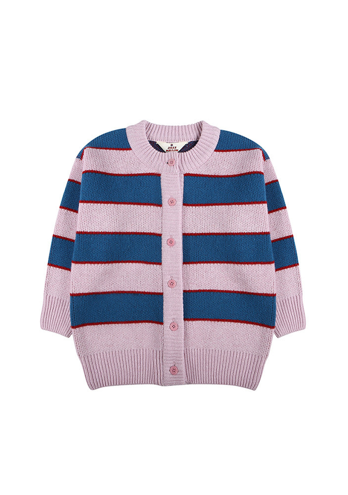 ★STRIPED WOOL CARDIGAN_Pink&Blue