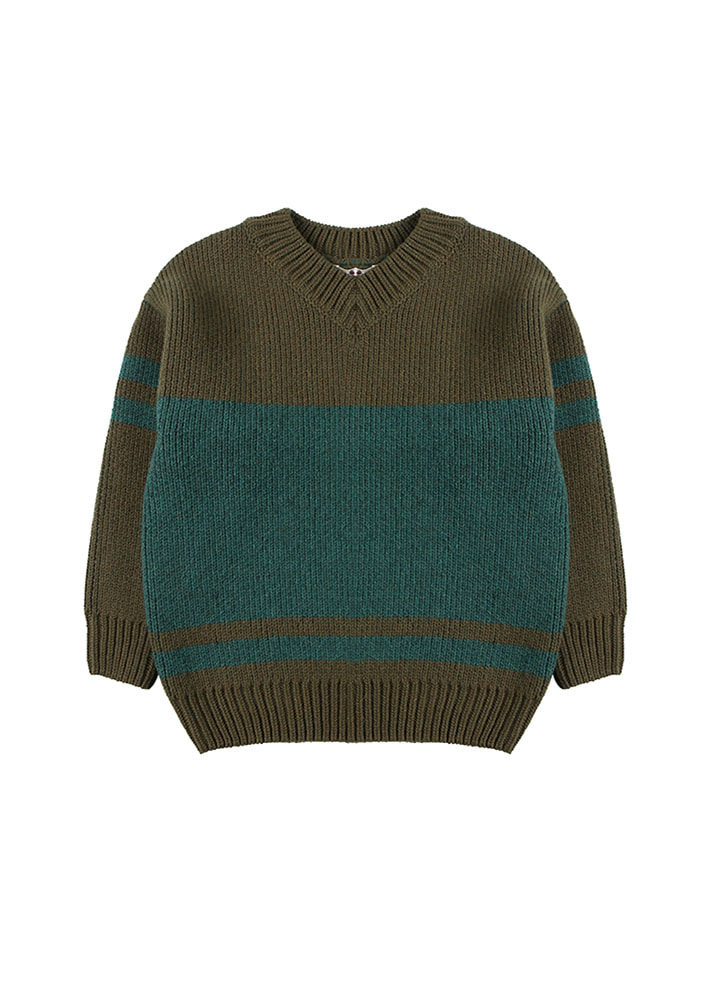 JACQUARD WOOL V-NECK SWEATER
