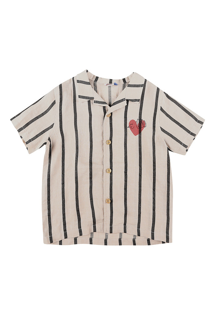 HEART BIRD LINEN SUMMER SHIRT#3