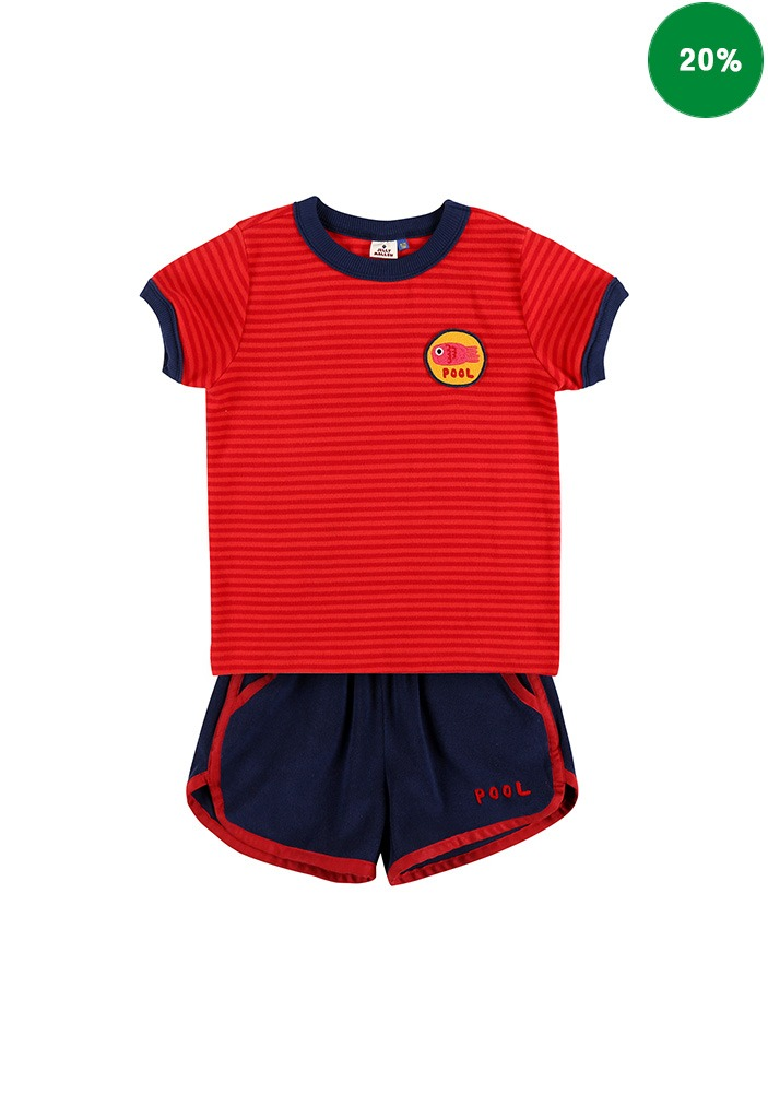 STRIPED SUMMER SET_Red&Navy_Baby