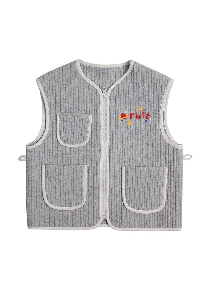 PETIT JELLY QUILT VEST_Light Grey_Kids