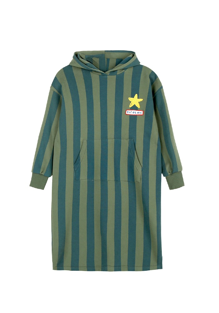 STRIPE HOODIE DRESS_Green&Blue_Kids