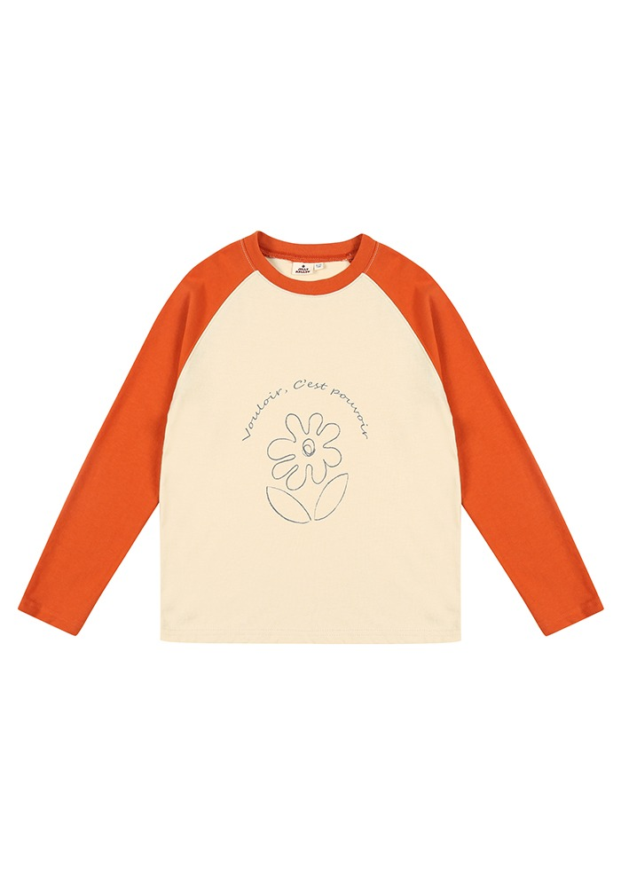 RAGLAN SLEEVE T-SHIRT_Brick_Kids