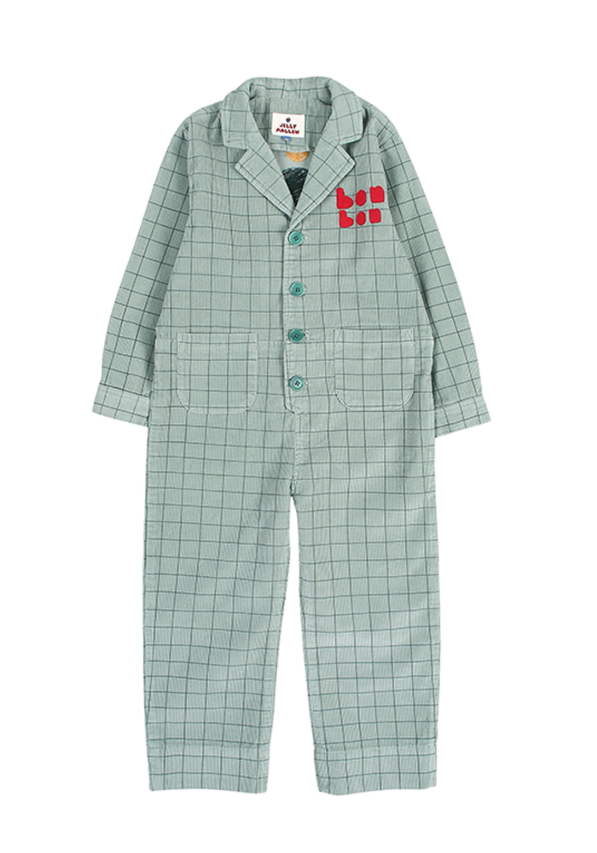 GRID CORDUROY JUMPSUIT_Green_Kids